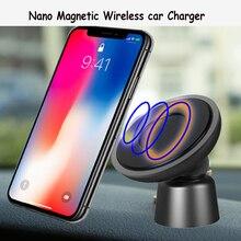 360 stopni obrót bezprzewodowa ładowarka samochodowa do iPhone X XS Max XR Qi do montażu na Nano magnetyczny bezprzewodowa ładowarka samochodowa do Samsung S10 S9