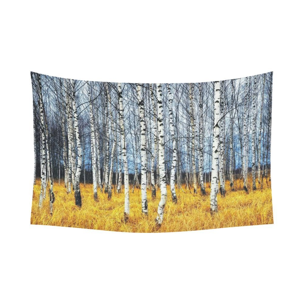 Autumn Landscape Wall Art Home Decor, Woodland Forest with Birch Tree Trunks Tapestry Wall Hanging Art Sets