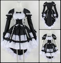 Nueva Moda Gótica de la Criada de Cosplay Del Anime Del Traje de Fiesta de Halloween vestido de Bola de La Vendimia Del Bowknot Vestidos Mujeres se Visten de Lolita