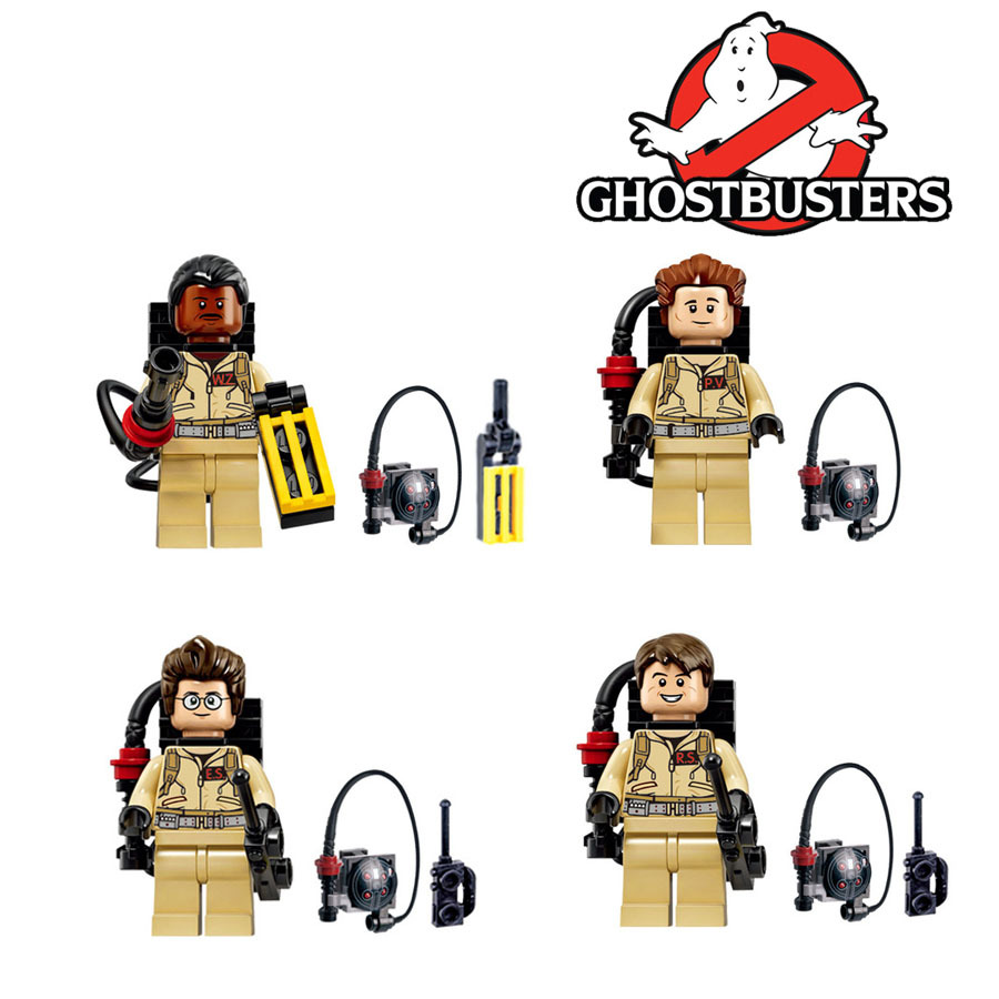 4pcs/lot Super Heroes Ghostbusters Figures Fastic Assemble Building Blocks Collection Toys With Ghostbusters Weapon
