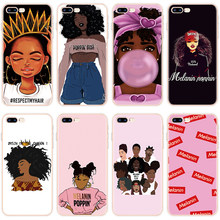 Funda negra de chica melanina POPIN Aba para iPhone 8 Plus para iPhone 6 6S 5 5S SE 7 8 Plus para iPhone XR XS 11 Pro Max 10 X(China)
