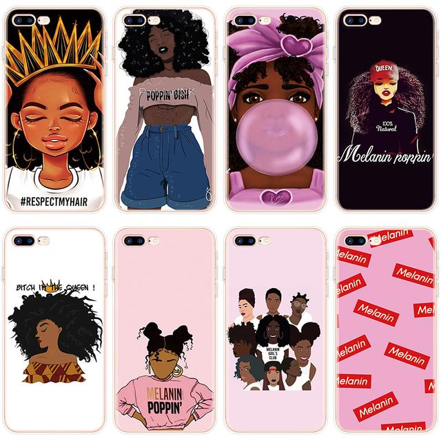 Black Girl Melanin Poppin Aba Case For iPhone 8Plus Case For iPhone 6 6S 5 5S SE 7 8 Plus Cover For iPhone XR 11 Pro XS Max 10 X