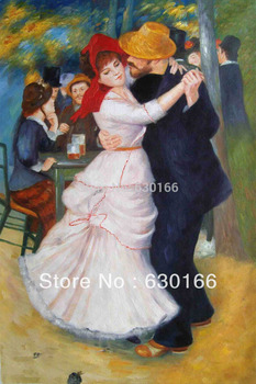 Dance at Bougival by Pierre Auguste Renoir,  Figure Oil Painting on Canvas, Dance Oil Painting Hand Painted, Horizontal