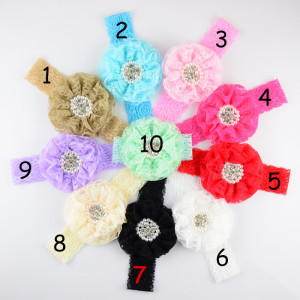 Image 1 - 50pcs/lot 3.5 inch Large Lace Flower Sew Rhine stone Centered with Elastic Lace Headband girlgirl Headdress 10 Colors FDA201