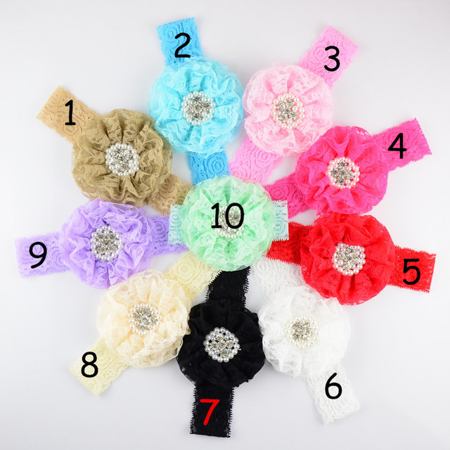 50pcs/lot 3.5 inch Large Lace Flower Sew Rhine stone Centered with Elastic Lace Headband girlgirl Headdress 10 Colors FDA201