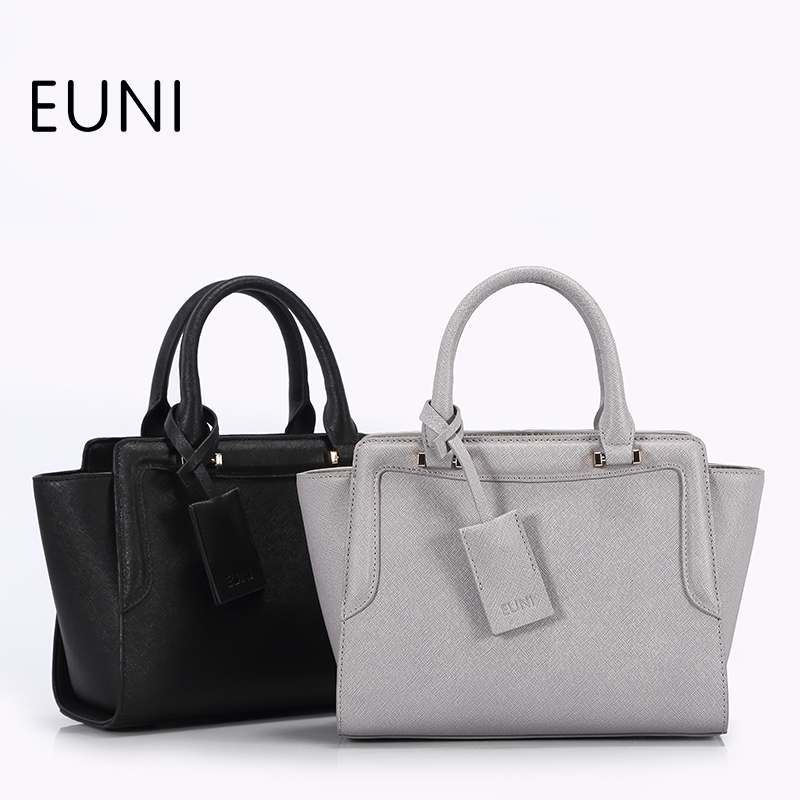 цены EUNI Fashion Exclusive Cowhide Leather Women Bags Brand Crossbody Bags Women Tote Bag Ladies Leather Trapeze Bag Bolsas