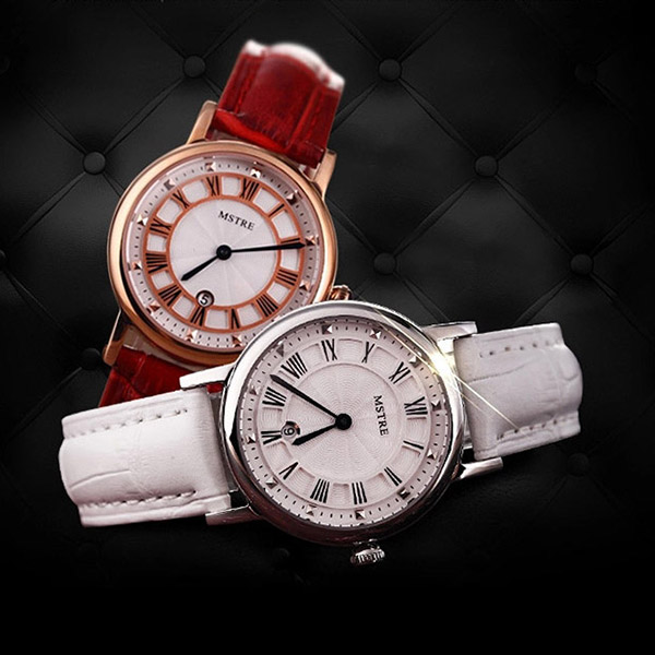 New Brand Luxury Women's Watches Red White Pink Leather Strap Fashion Quartz Watches for Ladies Casual fashion WristWatches casual tie strap playsuits in pink