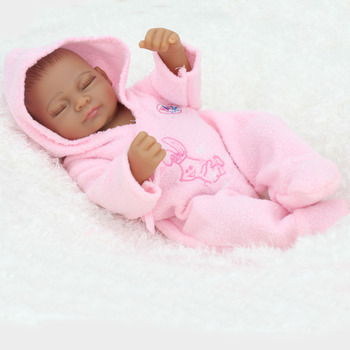 10 Inches Mini Dolls African American Baby Lifelike bebe reborn com corpo de silicone menino dolls toy for girls doll reborn
