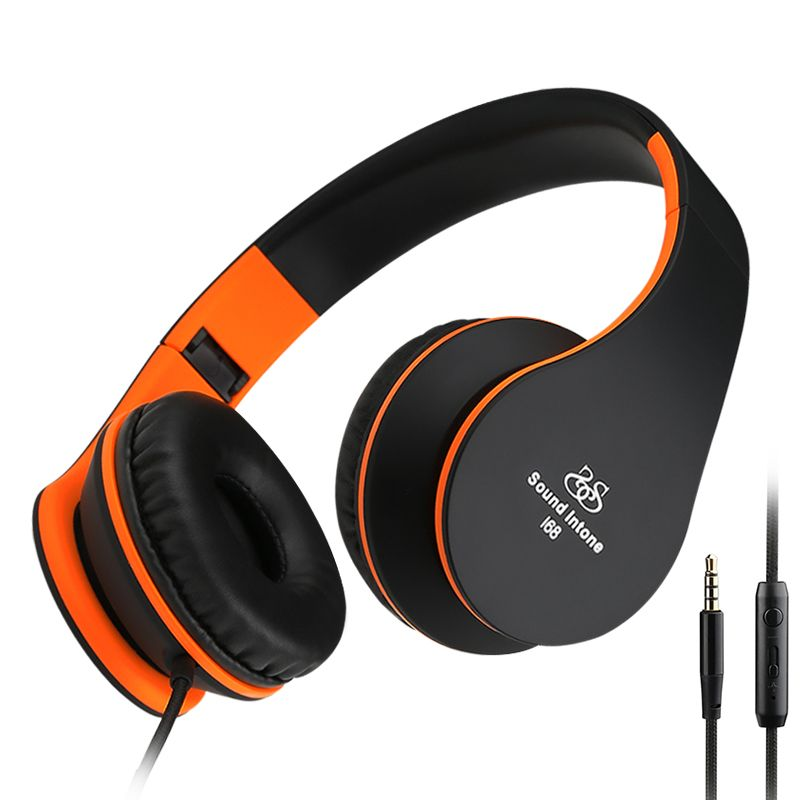 Sound Intone I68 Headphones With Mic. And Volume Control Foldable Auriculares Heavy Bass Gaming Headset For Xiaomi Phones  MP3 each g1100 shake e sports gaming mic led light headset headphone casque with 7 1 heavy bass surround sound for pc gamer