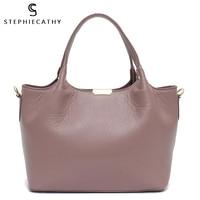 SC 100% Genuine Leather Bucket Bag Women casual Tote top handle Shoulder Bags Brand Designer Ladies Crossbody messenger Bag