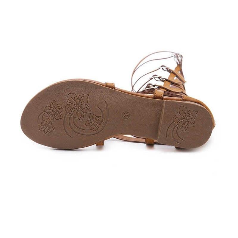 Vintage Pu cuir plat tongs pour femmes dames décontracté plat Rome chaussures d'été haut Top découpes gladiateur sandales pour femmes - 6