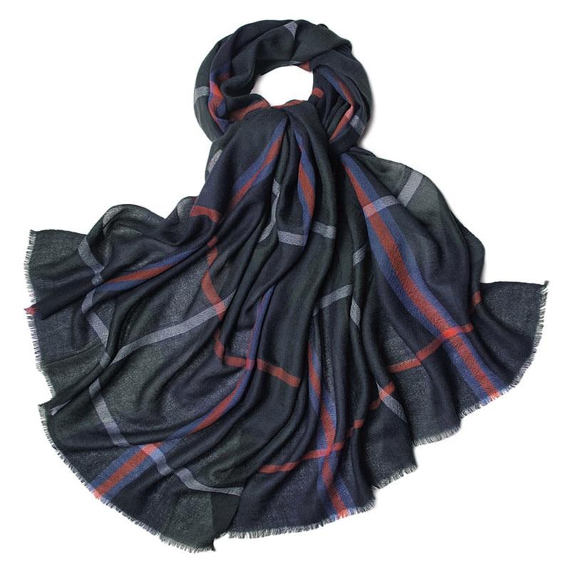 100%goat Cashmere Women Boutique Striped Plaid Thin Scarfs Shawl Pashmina Super Large Size 150x210cm