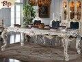Итальянский французский антикварная мебель-все серебряная фольга роялти классический обеденный стол