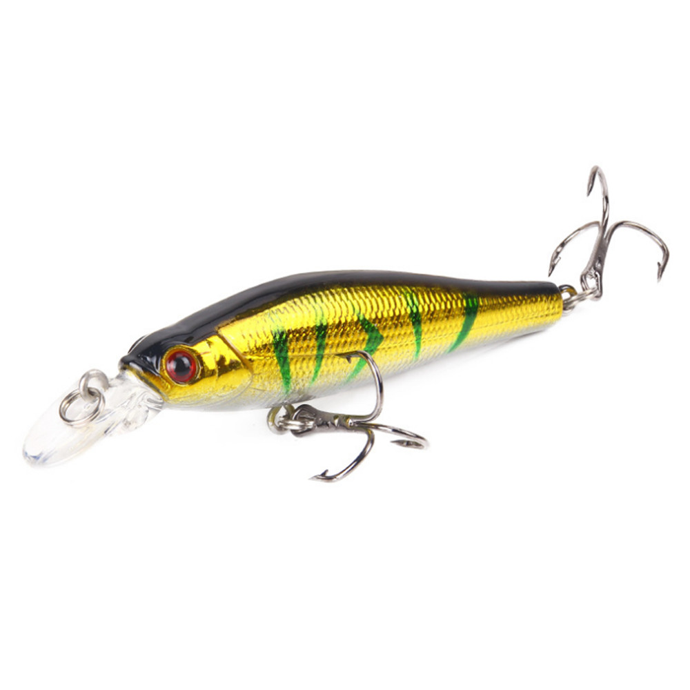 1pc 8cm//9g fishing lures minnow artificial hard bait wobblers with 3d eyes  X