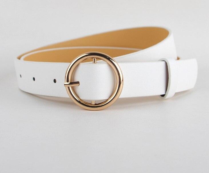 Горячая распродажа! женский ремень с пряжками и пряжками, с золотой пряжкой, для джинсов, для женщин, модные, студенческие, простые, повседневные брюки - Цвет: style 1 gold white