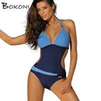 2018 Vintage One Piece Swimsuit Plus Size Female swimsuit Patchwork print Swimwear Large Size Bodysuit Bathing Suit Monokini XXL