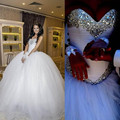 Vestido De Noiva Luxury Princess Wedding Dresses 2017 Ball Gown Sweetheart Crystal Tulle Sparkly Rhinestones Bride Bridal Gown