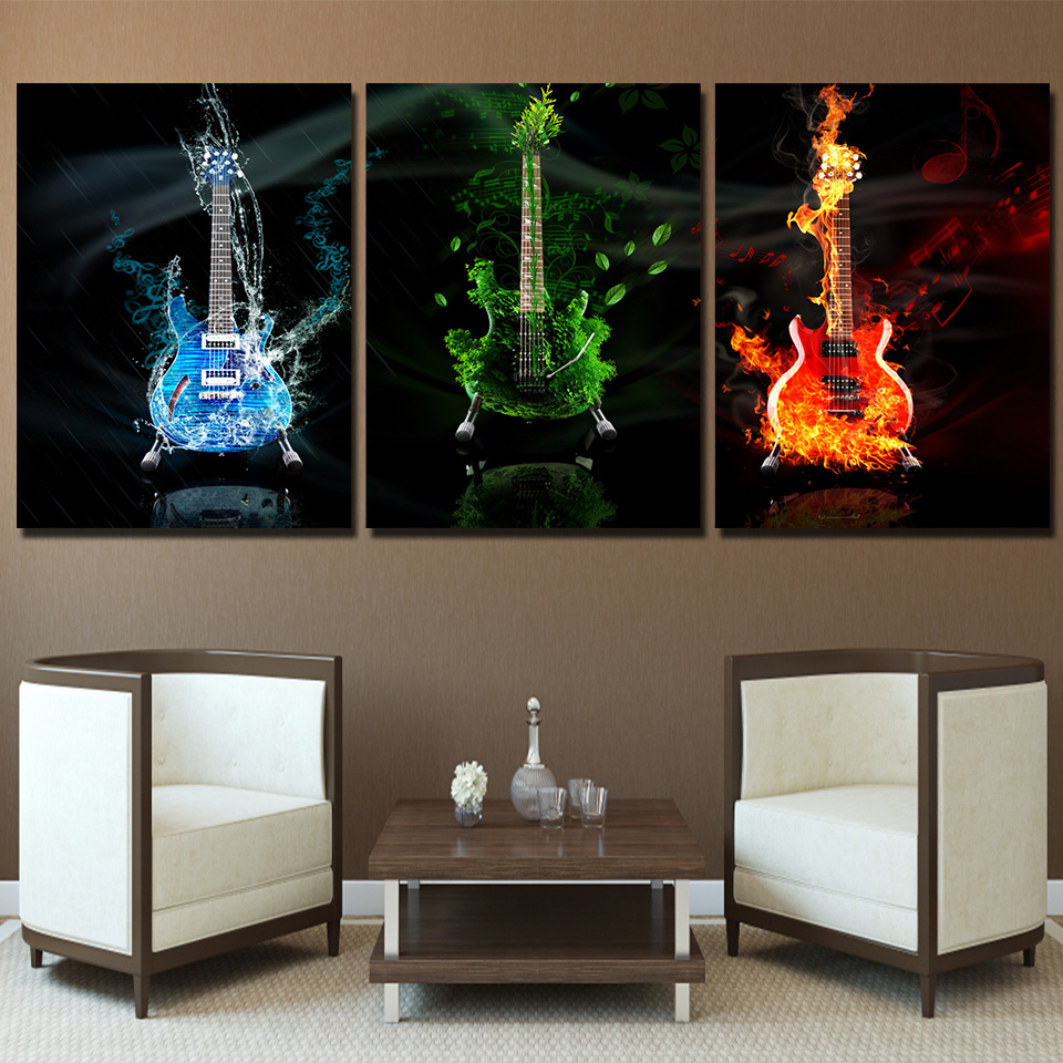 Music 3 Piece Canvas Wall Painting Abstract Home Decor Black Burning ...