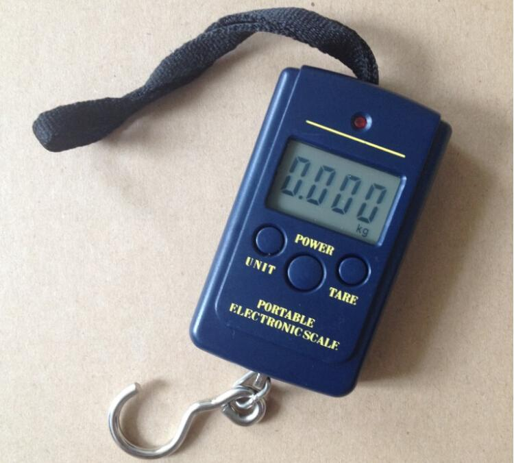 100pcs 40kg*10g houshold scale Portable Digital Electronic Scale Weight Hanging Handheld Backlight LCD Display Luggage pocket