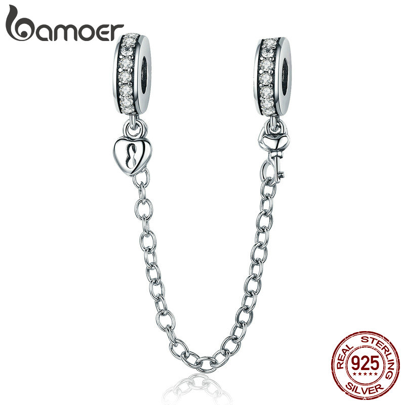 BAMOER Authentic 925 Sterling Silver Empilhável Corrente de Segurança Coração Amor Coração Oscila Charme fit Charm Bracelet DIY Jóias SCC606