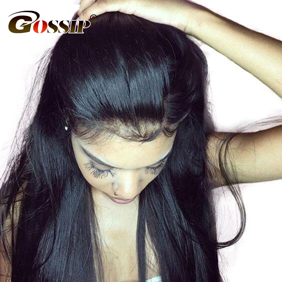 Gossip Hair Glueless Lace Front Human Hair Wigs Pre Plucked Malaysian Straight Lace Front Wigs For Black Women Short Black Wigs