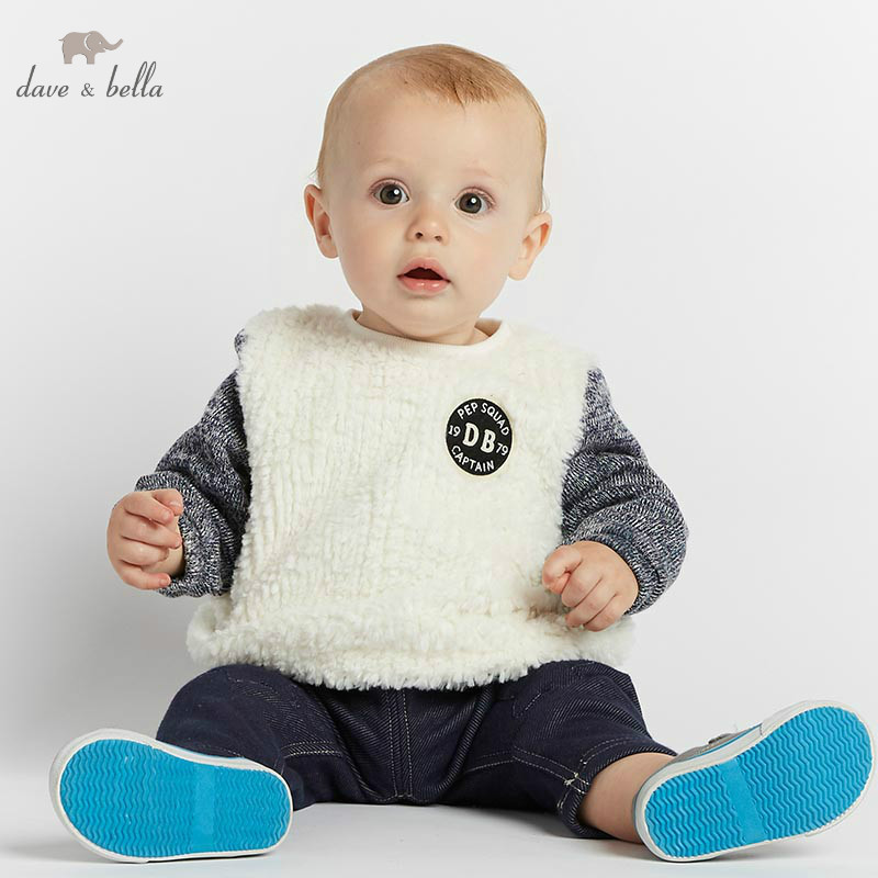 DB8526 dave bella autumn winte infant baby boys long sleeve pullover kids toddler tops children Top : 91lifestyle