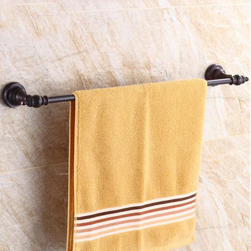 Wholesale And Retail Oil Rubbed Bronze Wall Mounted Bathroom Towel Rack Holder Brass Towel Rack Holder Single Bar Hanger luxury artistic towel bar single towel holder wall mounted bathroom towel rail rod oil rubbed bronze finish