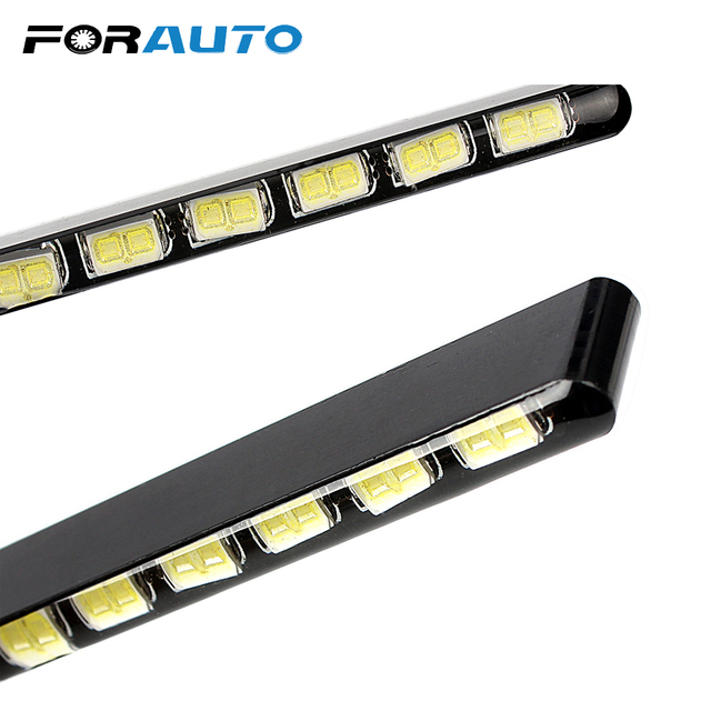 Car Styling Daytime Running Lights Light Source SMD Car DRL 7030 Daylight Led Strip 2pcs 12 LEDs
