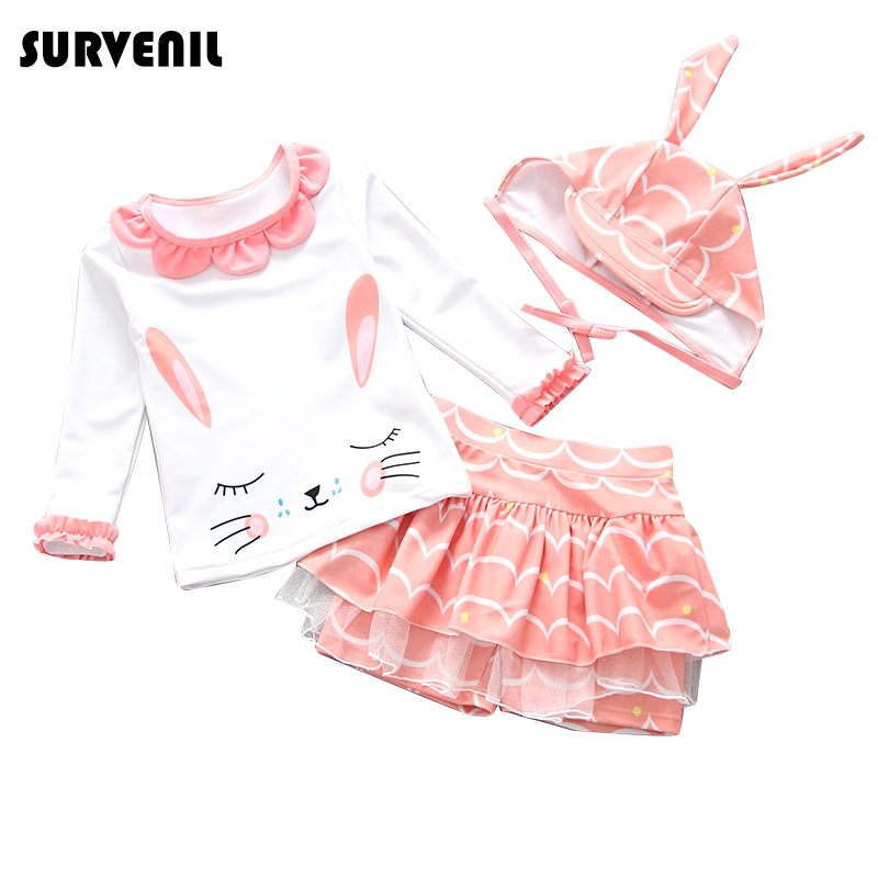 Baby Girl Swimwear 2019 Long Sleeves Children 39 s Swimsuit for Girls Cartoon Lovely Girl 39 s Bikini Set Kids Rash Guard Bathing Suit in Children 39 s Two Piece Suits from Sports amp Entertainment