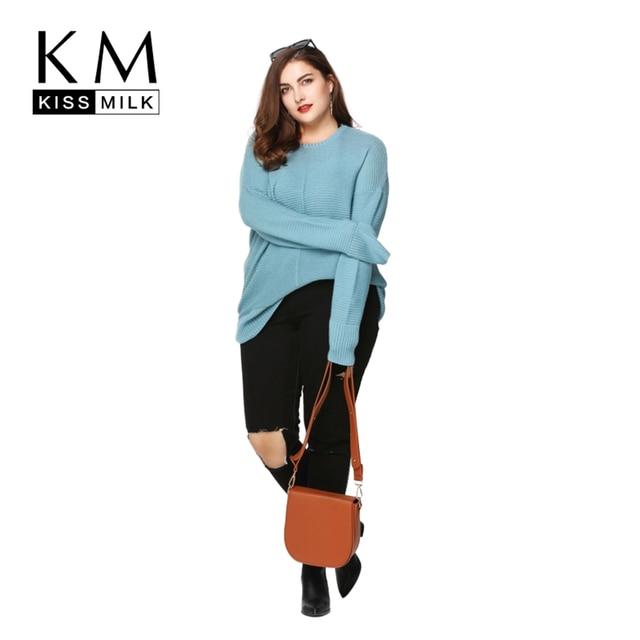 Kissmilk Plus Size New Fashion Women Clothing Basic Solid Loose Tops Long Sleeve O-Neck Warm Big Size Sweater 3XL 4XL 5XL 6XL
