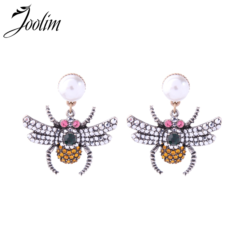 Joolim Jewelry Cute Simulated Pearl Spider Drop Earring Yellow and Silver CZ Crystal Drop Earring