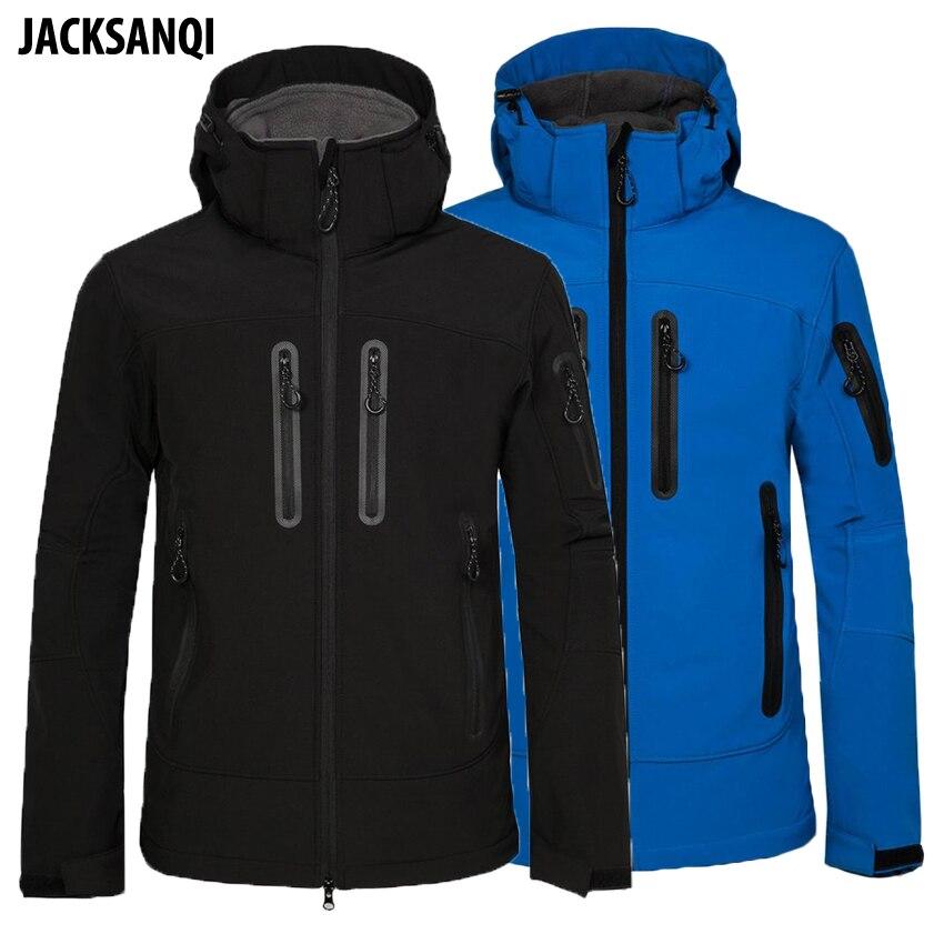 JACKSANQI Men s Winter Softshell Hiking Hooded Jackets Ski Camping Trekking Jackets Waterproof Outdoor Sports Male