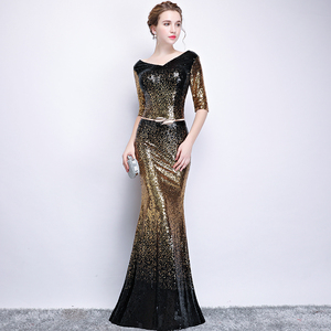 Image 3 - New arrival sequines black floor length v neck lady girl women princess bridesmaid banquet party ball dress gown