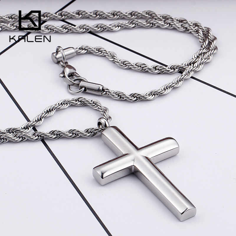 Kalen Fashion Cross Necklaces For Men High Polished 50cm Stainless Steel Silver Color Cross Jewelry Necklace Male Cheap Jewelry