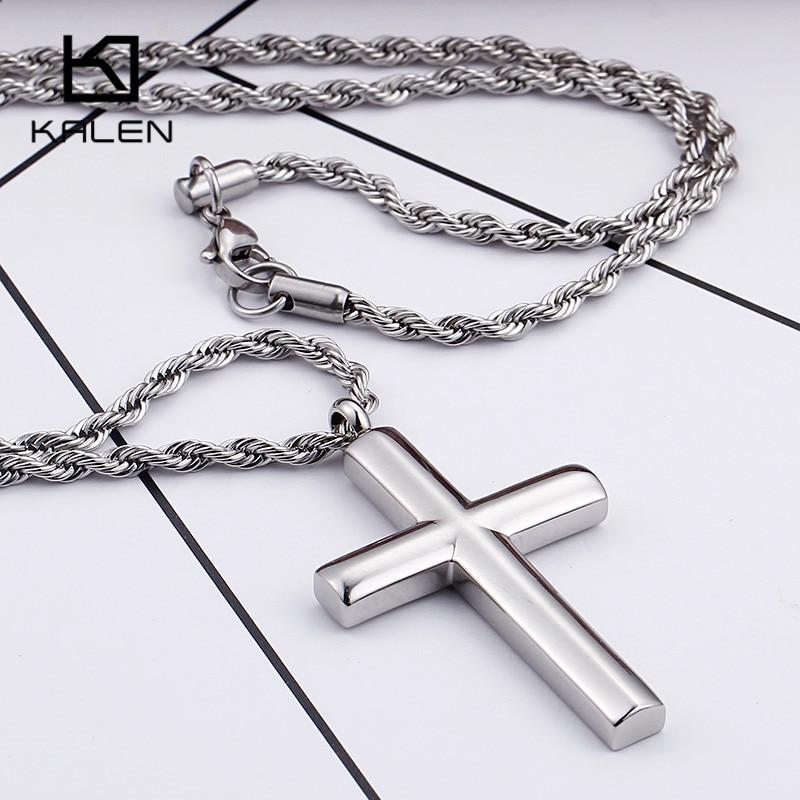 Kalen Mode Kreuz Halsketten Für Männer Hohe Poliert 50 cm Edelstahl Silber Farbe Kreuz Anhänger Halskette Männlichen Günstige Schmuck