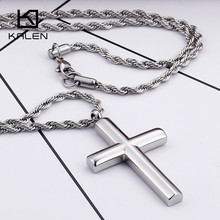 Kalen Fashion Cross Necklaces For Men High Polished 50cm Stainless Steel Silver Color Cross Pendant Necklace Male Cheap Jewelry