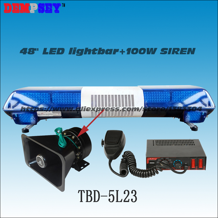 TBD-5L23 Super Bright LED lightbar ,100W Siren+100W Speaker ,Full Blue Warning lights,Emergency ambulance Warning Lightbar 120cm 64w led police lightbar ambulance lights firemen light bar 100w loudspeaker 100w police warning siren waterproof