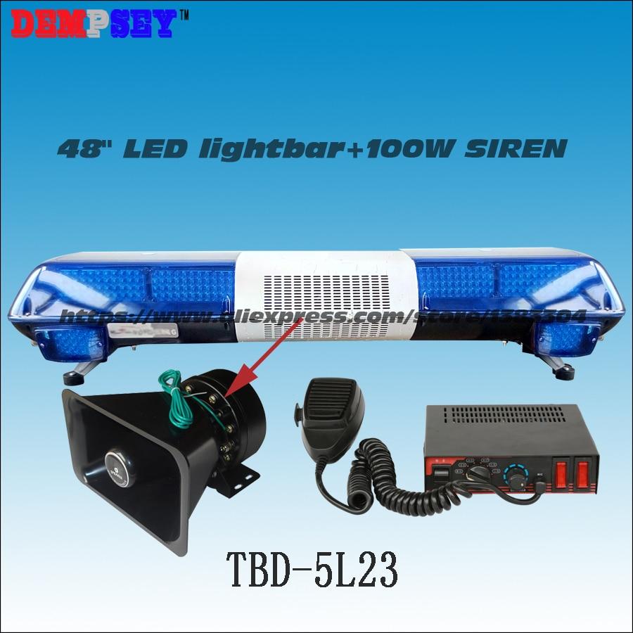 TBD-5L23 Super Bright LED Lightbar ,100W Siren+100W Speaker ,Full Blue Warning Lights,Emergency Ambulance Warning Lightbar