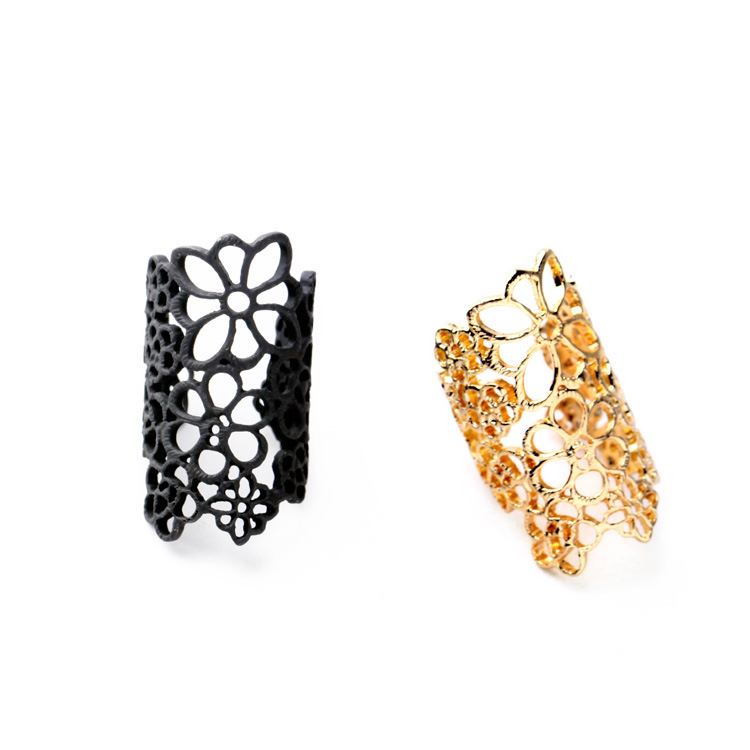 New Design Female Alloy Hollow Lace Flower Ring For Women Fashion Rings In Women Jewelry Special Finger Rings Gift For Girls