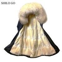 SHILO GO 5XL меховые парки мужские зимние модные золотые норковые свободные меха енота воротник натуральный мех норки с капюшоном черный армейс