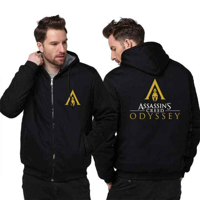 US size Men Women Game Assassin's Creed Odyssey Cosplay Hoodie Thicken Jacket Clothing Assassins Creed Coat Sweatshirts  1
