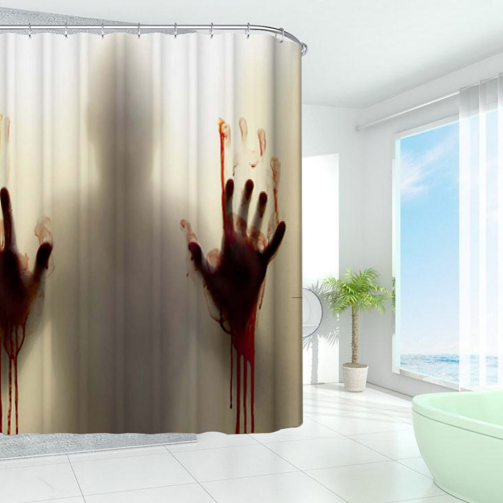 New Design Bloody Bathroom Waterproof Polyester Shower Curtains Bath  Bathing Sheer Curtain Home Decoration   Sheer