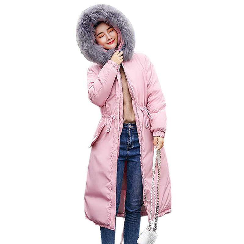 Women parkas mujer 2018 Down Cotton Parkas winter jacket wome Thicken Warm Hooded Padded Long Coat Outwear plus size 3XL ...