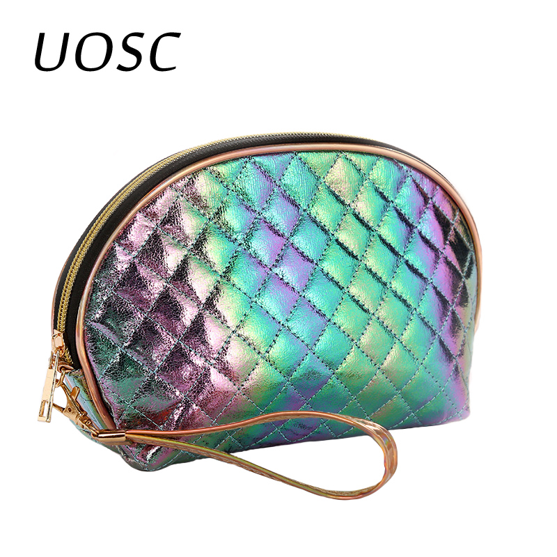 UOSC Women Travel Cosmetic Bag Fashion Leather Zipper Make Up Bag Makeup Case Organizer Storage Pouch Toiletry Beauty Wash Bags