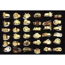 Золотой цвет прочность кольца из нержавеющей стали группа звено с украшением смешанный дизайн 36 шт./лот