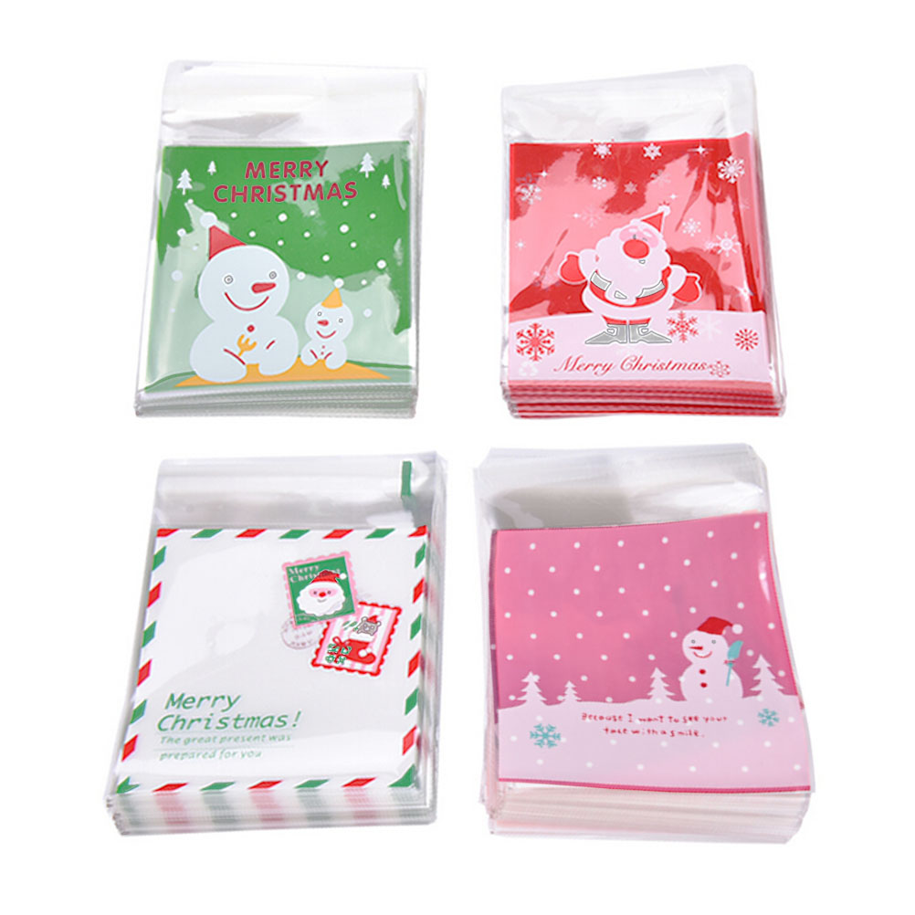 100Pcs Christmas Santa Claus moose Snowman self adhesive Cookie packaging bags for biscuits snack christmas decoration 4 Styles