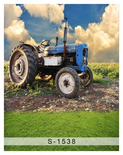 Custom vinyl cloth blue sky tractor field photography backgrounds for boy stage photo studio photographic backdrops props S-1538 тойота лонг в астане