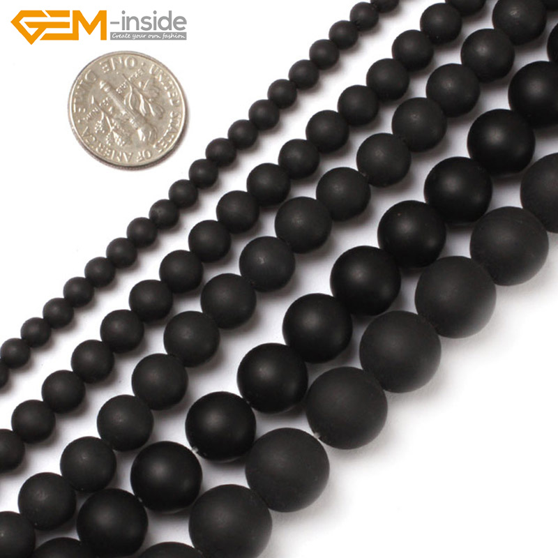 Gema en el interior 4-16mm Cuentas de Piedra Natural Redondo Mate Negro Brasil Ágatas Perlas Para La Joyería Que Hace Granos 15 '' Joyería de Perlas DIY