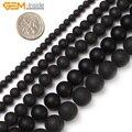 Gema-dentro de 4-16mm cuentas de piedra Natural redonda mate negro Brasil Agata cuentas para hacer joyas cuentas joyería de cuentas DIY de 15''