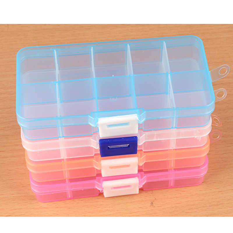 1 pcs di Plastica Decorazione Del Chiodo Scatola di Immagazzinaggio 10 Griglie Mini Organizzatore Dei Monili di Imballaggio Della Cassa Del Contenitore Nail Manicure Accessori Strumenti